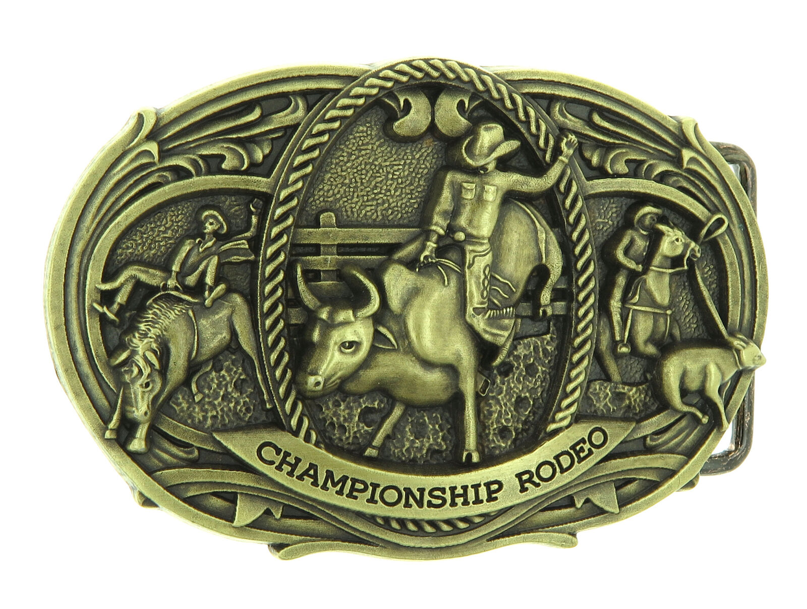 Championship Rodeo Bull Riding Cowboy Western Bronze Plated Belt Buckle