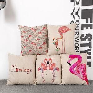 Kissenbezug-Flamingo-Kissenhuelle-Rosa-Vogel-Dekokissen-45x45cm-Reissverschluss