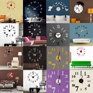 Acrylique-Moderne-Diy-Horloge-Murale-3D-Surface-Du-Miroir-Papier-Maison-Chambre
