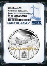 2020 JAMES BOND 007 GoldenEye 25th ANNIVERSARY 1oz .9999 SILVER PROOF $1 COIN