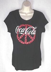 8536cb8d55db2 Coca Cola Coke PEACE tee T shirt knit top Jr sz XL Womens sz M L ...