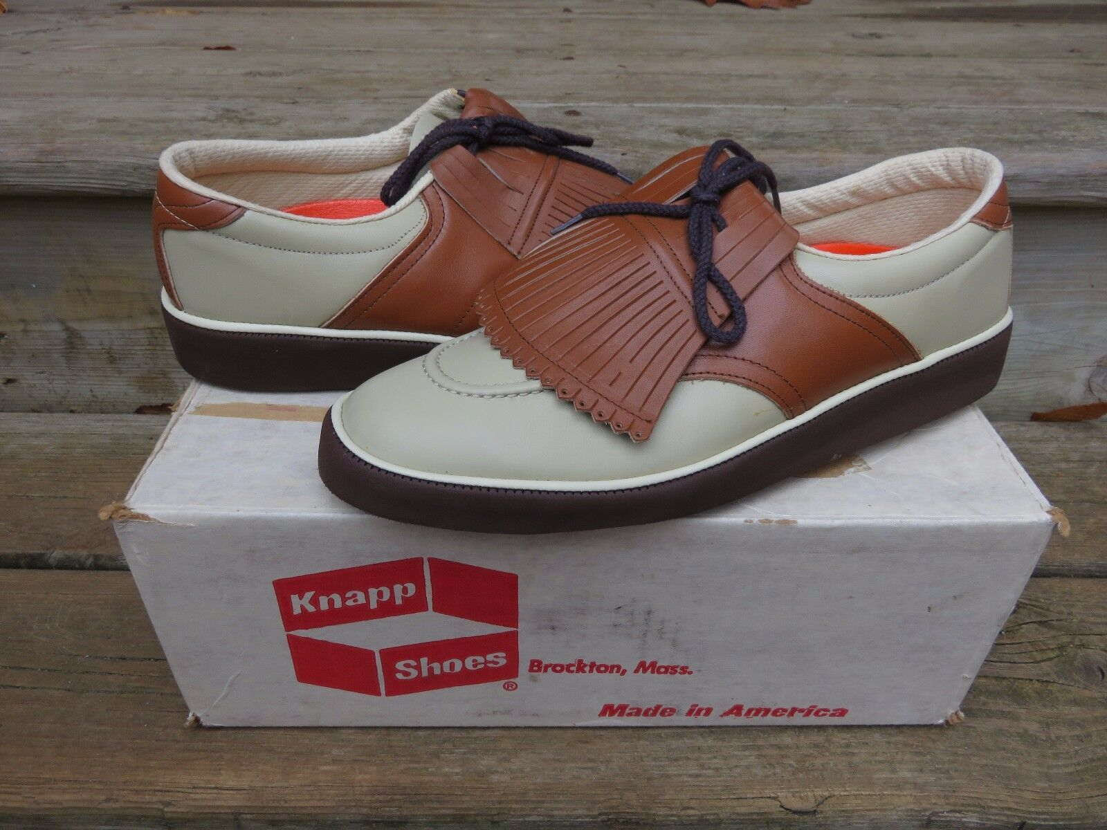 NOS Shoes Knapp Brown/White Casual Golf Shoes NOS VTG Athletic Casual Shoe e979ef