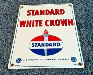 STANDARD-WHITE-CROWN-GASOLINE-15-034-x-12-034-PORCELAIN-VINTAGE-STYLE-GAS-amp-OIL-SIGN