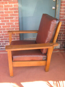 Mission-Oak-Stickley-Brothers-Large-Arm-Chair-Leather-703-Original