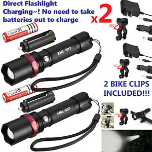 2-PACK-20000lm-USB-Rechargeable-CREE-T6-LED-Tactical-Flashlight-Torch-Eaglehawk