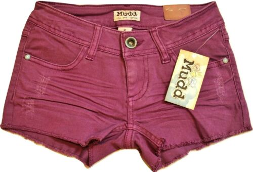 Mudd Juniors Grape Juice Purple Denim Frayed Cuff Jean Shortie Shorts