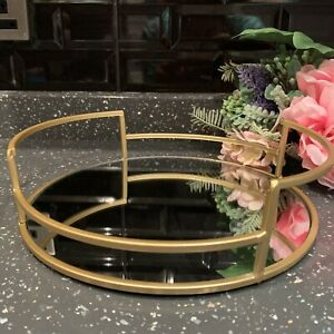 25cm Round Gold Mirror Candle Tray Plate Wedding Table Decorative Mirror Tray Ebay