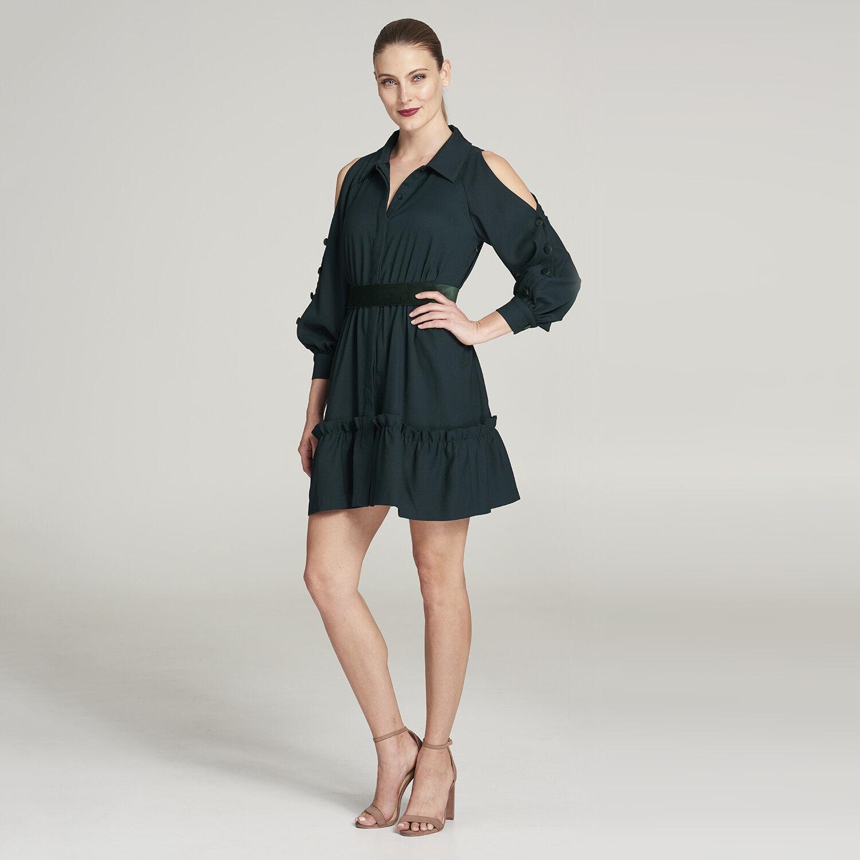 NWT Eliza J Cold Shoulder Shirtdress (Petite) Woherren Größe 4P Grün