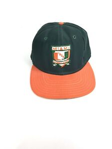 pick up 2861d 7a0d8 Image is loading Vintage-Miami-Hurricanes-New-Era-Pro-Model-NCAA-