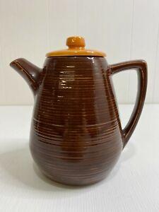 Vintage McCoy Stoneware Pottery Tea Pot Lidded Brown and Tan Ribbed Glazed USA