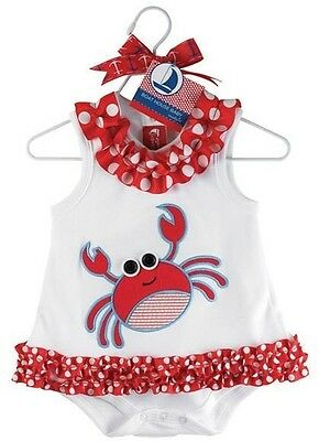 NEW Baby Girl Crab Sleeveless Summer Frill Bodysuit Singletsuit 6-24 months 0/2