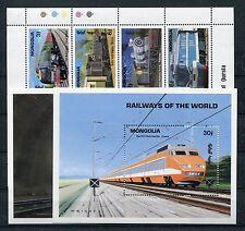 Mongolei 2369/76 Kleinbogen Block 185/86 postfrisch / Eisenbahn ..........1/1324