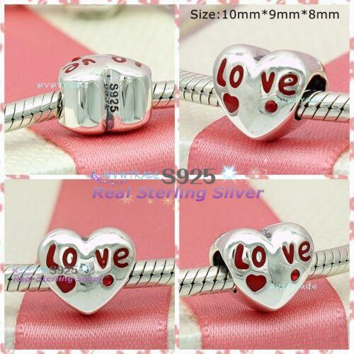 925 Sterling Amour Coeur avec CZ et émail Fit European Charm Bead Bracelet