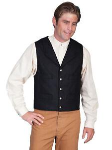 Scully Rangewear Mens Burgundy Polyester Paisley Old West Big Vest