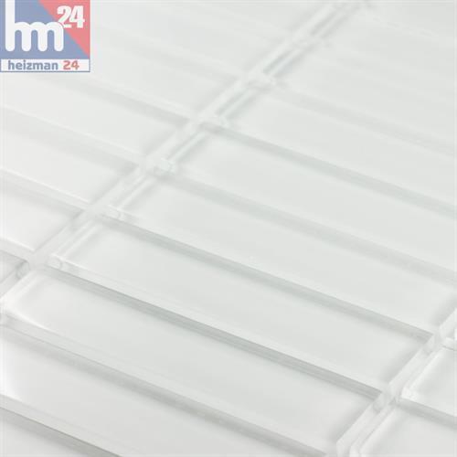 Glasmosaik White Glossy Stäbchenmosaik Mosaikfliese weiß 29,5x29,5x0,8 Bad Küche