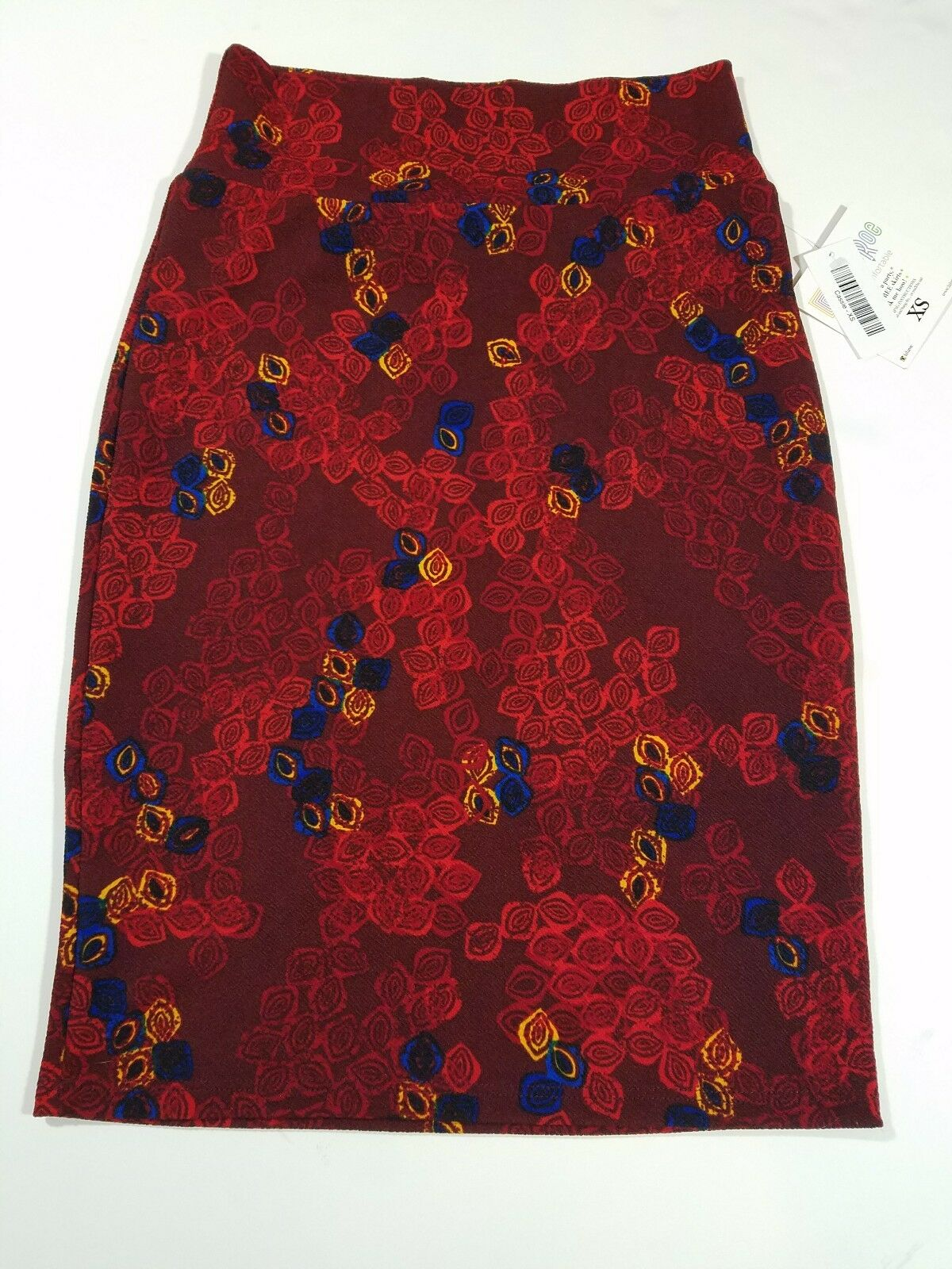 LuLaRoe XS Cassie Skirt, Red yellow bluee