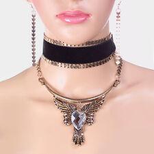 CELEB Glam Black Velvet Antique Gold Crystal Choker Necklace Set Rocks Boutique