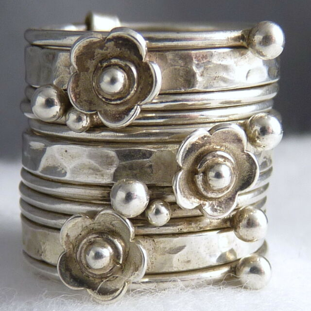 US 7 (O) ~ 925 Sterling Silver SilverSari Stack Ring ~ NEST OF 11 RINGS