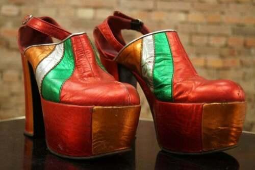 Vintage 70s Platforms Shoes Sandals Red Metallic 7