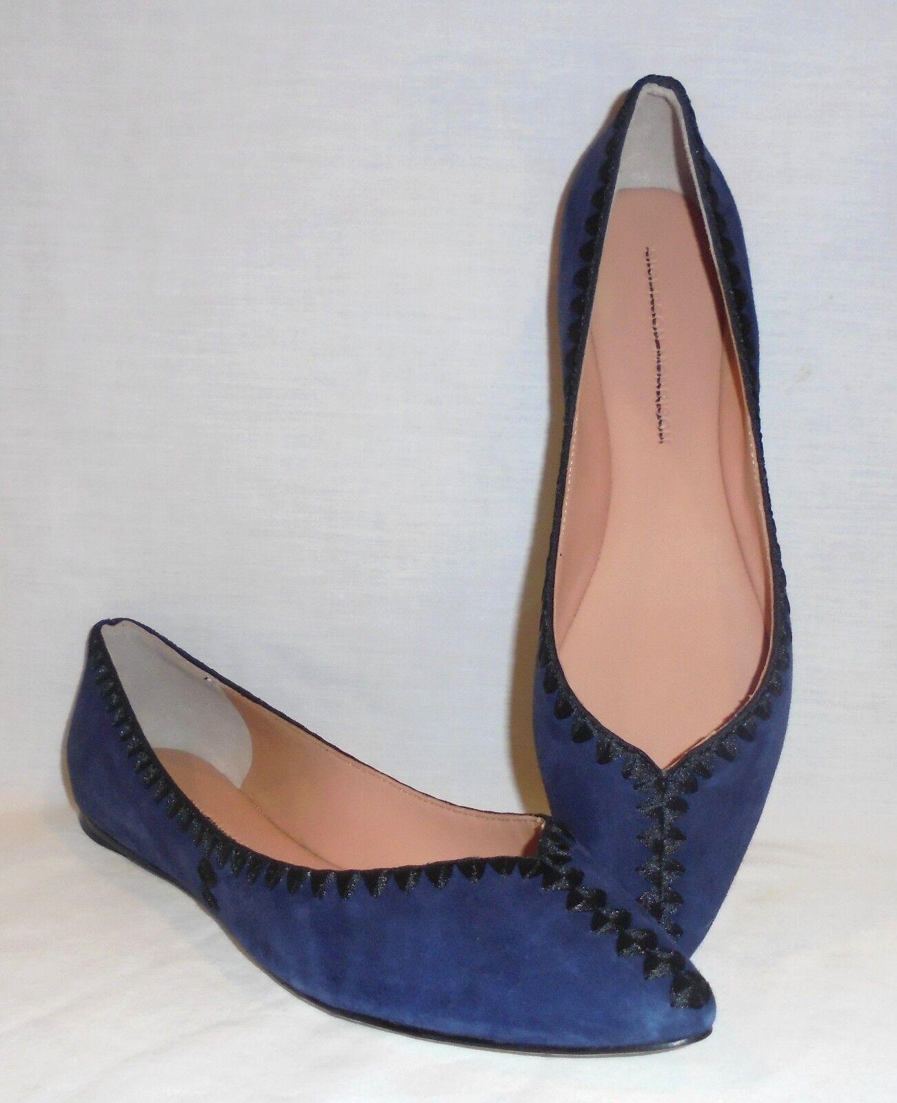 Sigerson Morrison Women's Vinal Suede Stitched Ballet Flats Retail  278 size 8