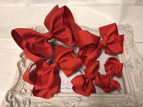 NUOVO Set Fascio di scuola Fiocchi hairbows Clip Red back to school