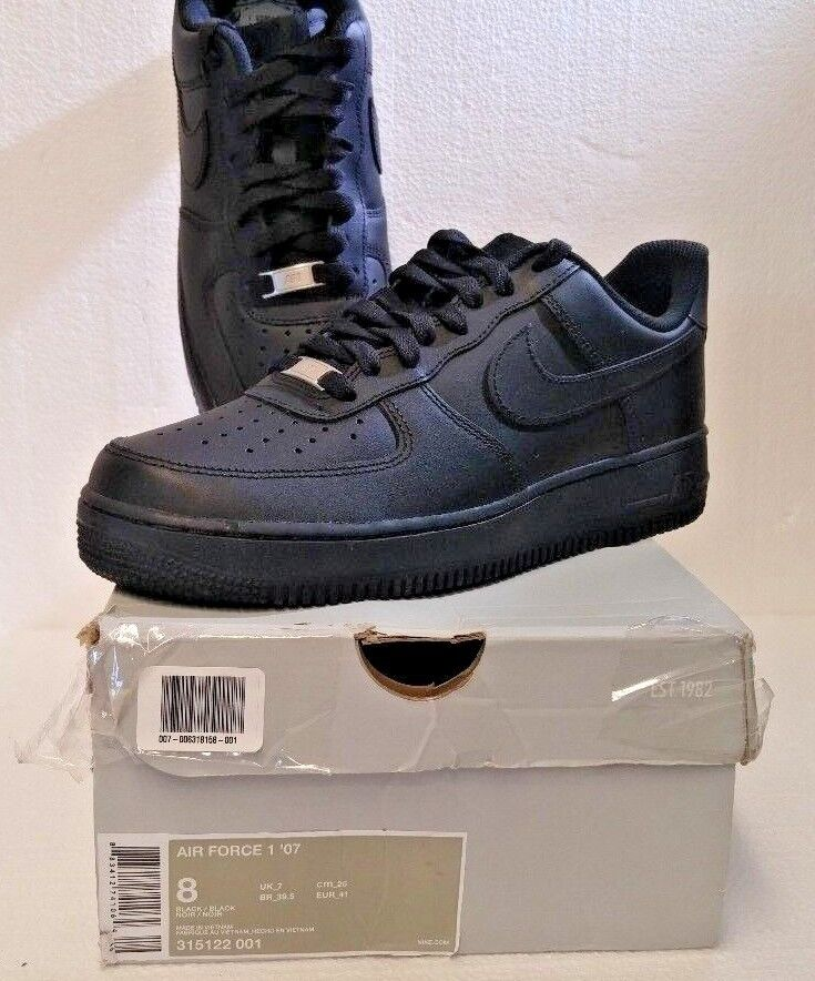 Nike Air Force 1 Men's Exclusive Leather Fashion Sneakers Black/Black 315122-001