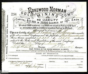 Share Scrip - Gold Mining. 1896 Rokewood Norman Gold Mining Co N/L.. gVF