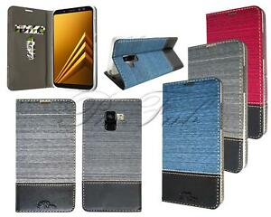 Neuf-Portefeuille-Cuir-Telephone-Etui-pour-Samsung-Galaxy-A8-2018-Protection