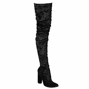 CAPE-ROBBIN-PAW-27-Snug-Fit-Velvet-Pointed-Stretchy-Block-Heel-Thigh-High-Boot