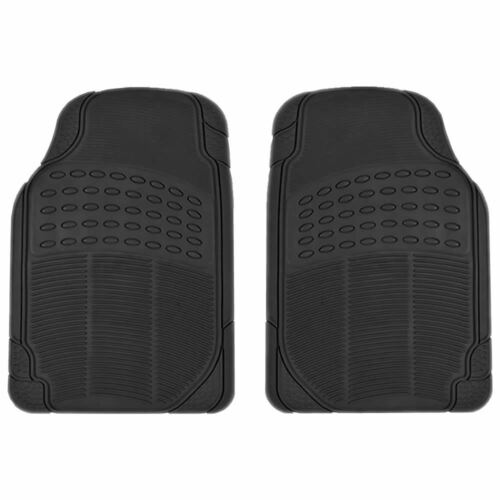 2 pc All Weather Bl Front Heavy Duty Rubber Floor Mats Set Universal-Fit