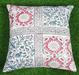 Dari Cushion Cover Handmade Cotton Beige Floral Throw Home Decor Pillow Cover