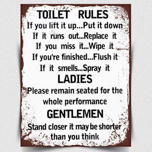 Metal Sign Wall Plaque Toilet Rules, Bathroom Rules Plaque