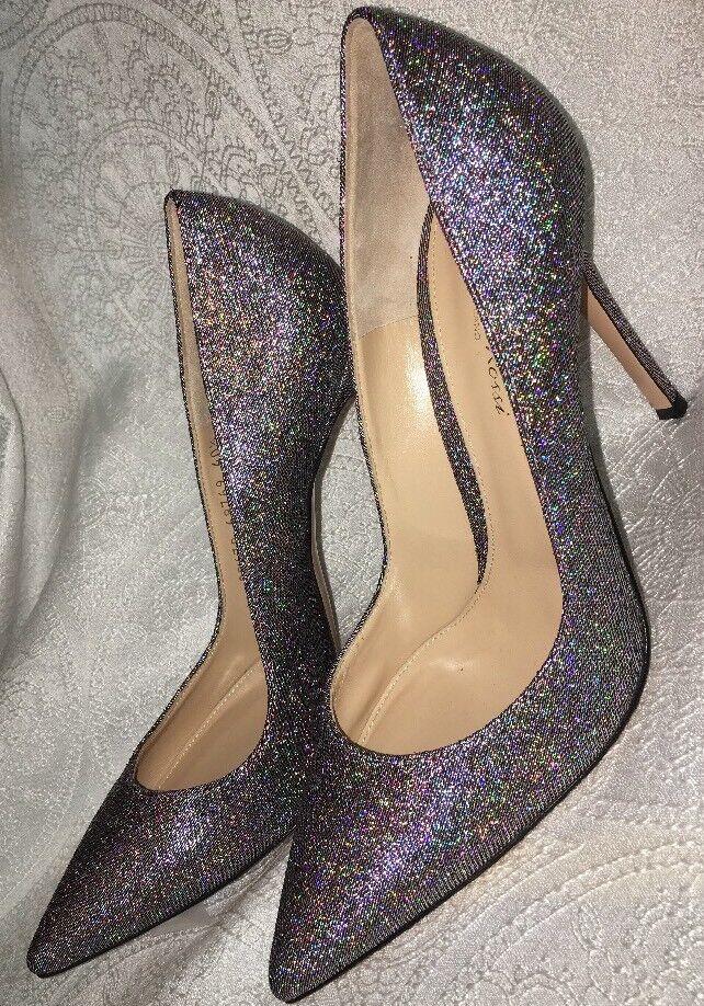 Gianvito Rossi shoes Multicolor Silver Glitter Fabric Size 40 1 2 New