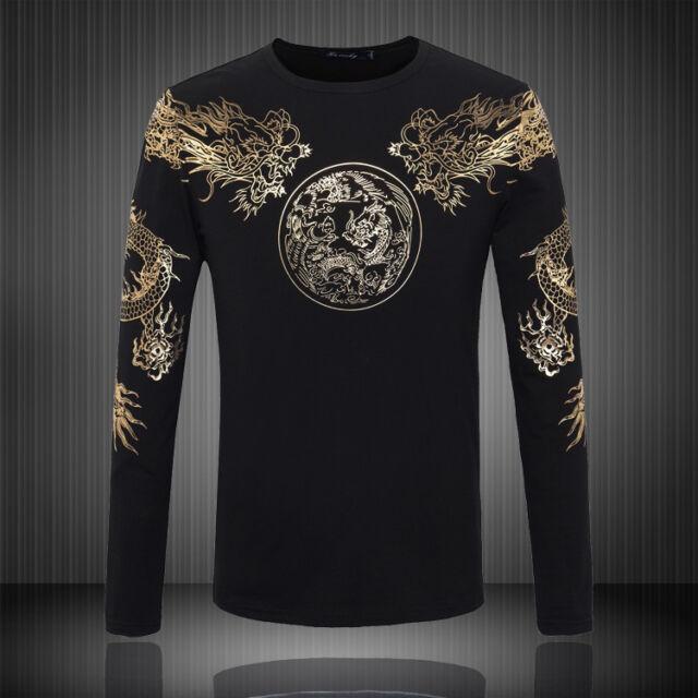 Dragon shirt breathable long sleeve dragon clothes shirt black for men