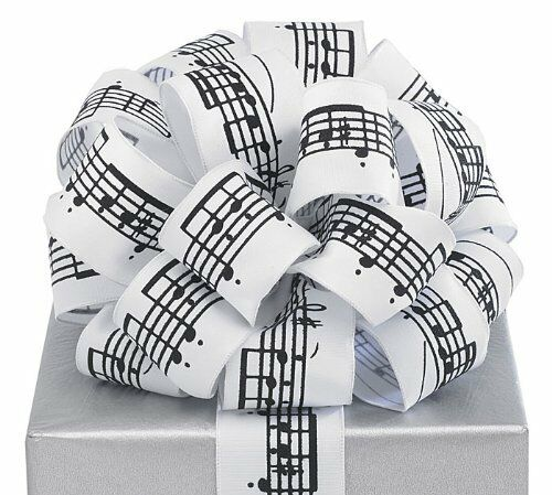 """Black Musical Notes White Ribbon 20 yards 1.5/"""" wired Bow Craft Decor Music Gift"""