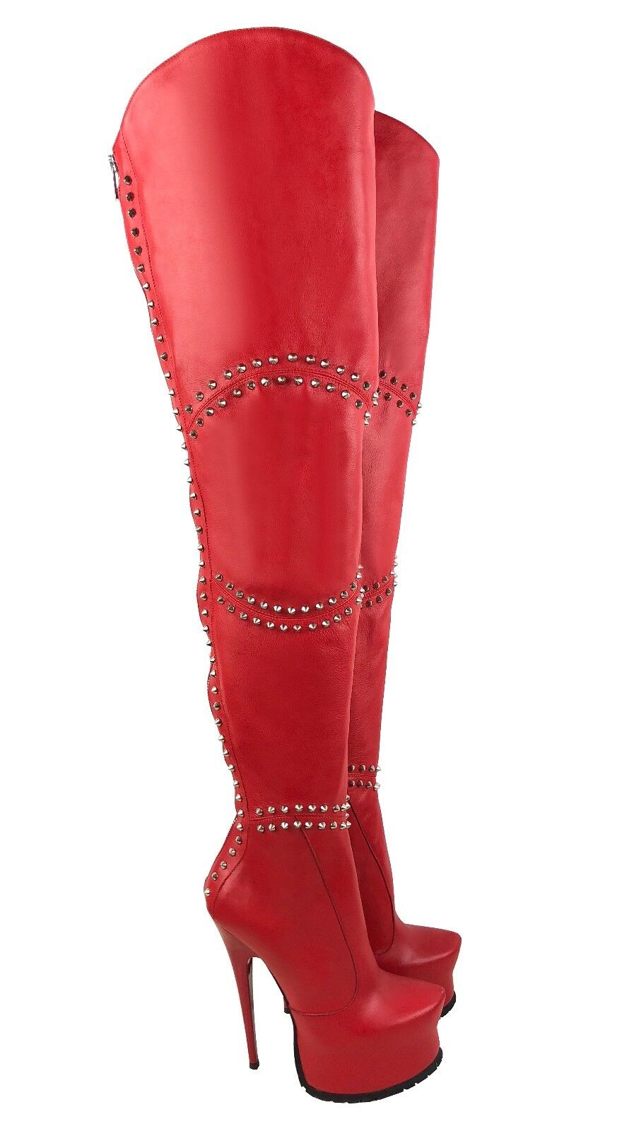 CQ COUTURE CUSTOM STUDS STIVALI ZIP PLATFORM BOOTS STIEFEL STIVALI STUDS LEATHER RED ROSSO 45 7a9dc9