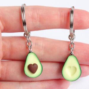 Chic Fruit Key Chain Avocado Heart Shaped Pendant Keyrings Food Decor Gifts