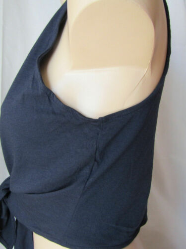 Navy Sleeveless Tie Up Crop Bolero Shrug Wrap Cardigan UK 10 A1