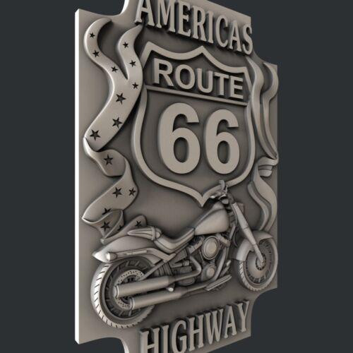 Artcam relief Route 66 Aspire 3d STL models for CNC