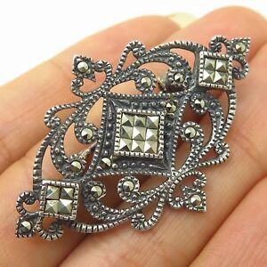 Pins, Brooches Vintage Marsala 925 Sterling Silver Real Marcasite Gem Heart Design Pin Brooch
