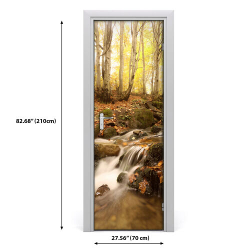 Details about  /Self adhesive Door Wall wrap removable Peel /& Stick Landscape Gold autumn