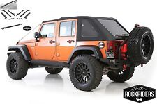 2007-2017 Jeep Wrangler Unlimited Frameless Bowless Soft Top with Hardware Kit