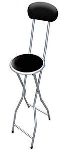 94-Cm-negro-acolchado-plegable-silla-alta-Desayuno-Cocina-Taburete-Asiento-suave-de-PVC
