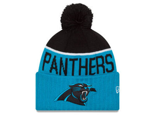 CAROLINA PANTHERS New Era 2015 Sport Knit Sideline Beanie NFL On Field Pom Cap