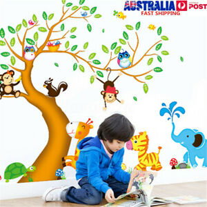 Details About Jungle Animals Monkey Owl Tree Removable Wall Stickers Decal Nursery Room Decor