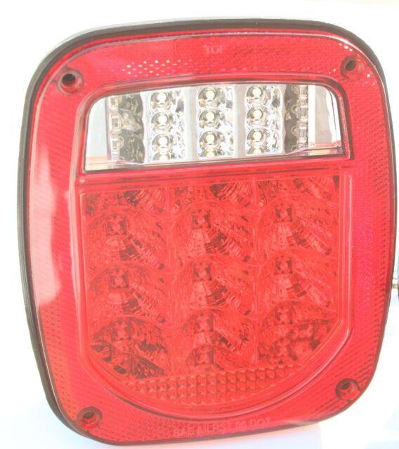 Bright Red Jeep TJ CJ YJ JK Replacement Tail Light with LED's Illuminator