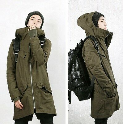New Korean Men's Cotton Hooded Two-Piece Coat Thicken Long Jacket Casual Parka