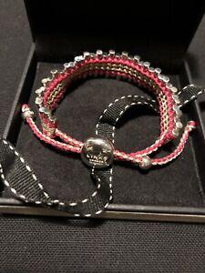 Genuine Links of London Sterling Silver Sweetie XS Fuschia Cord Bracelet