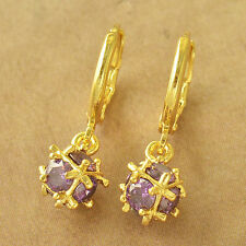 Statement Classic 14K Yellow Gold Filled Purple CZ Womens Ball Dangle earing