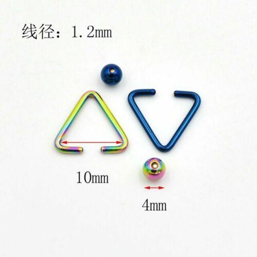 Unusual Triangle BCR Ball Captive Ring Tragus Ear Helix 16g 5 colour choices